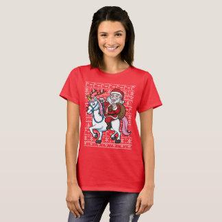 Camiseta Unicornio del montar a caballo de Papá Noel del