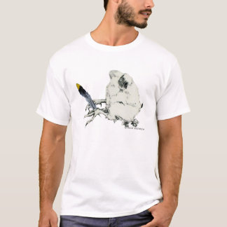 Camiseta unisex oscura adulta de la pluma amarilla