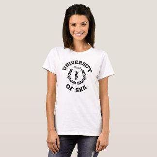 Camiseta Universidad del negro de las señoras de Ska