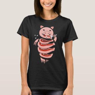 Camiseta Uno mismo que come el cerdo del caníbal cortado en