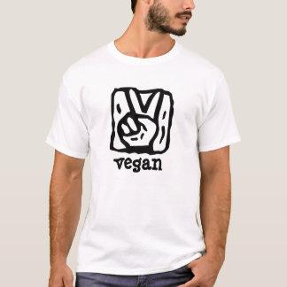 Camiseta V vegano del símbolo de paz