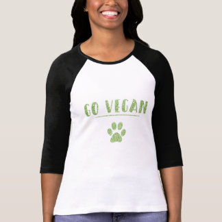 Camiseta Va tipografía verde del brillo de la pata animal