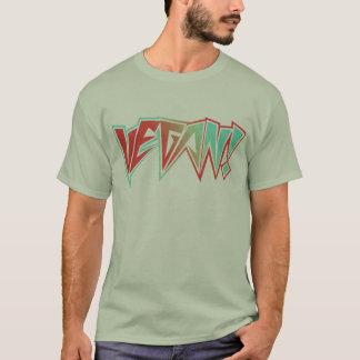 Camiseta Vegano rojo y azul del eje de balancín de los años