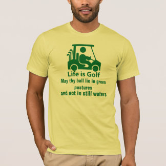 Camiseta verde clara de golf del carro del verde