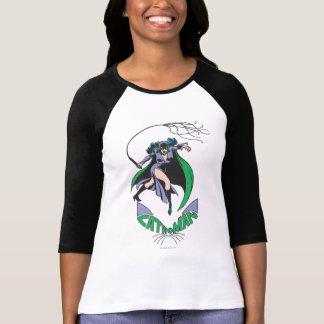 Camiseta Verde del Catwoman y del logotipo