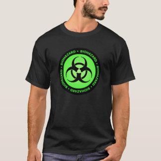 Camiseta verde del símbolo del Biohazard