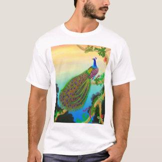 Camiseta verde exótica del pavo real