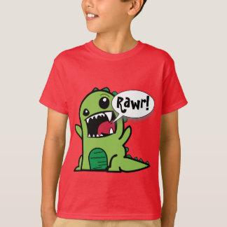 "Camiseta Verde lindo ""Rawr del dibujo animado!"" Dinosaurio"