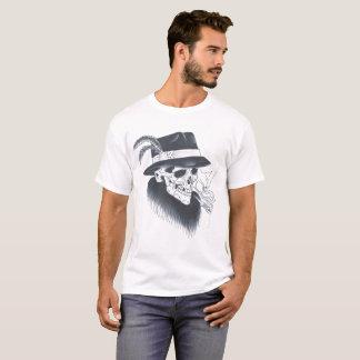 Camiseta vieja blanca para hombre del cráneo