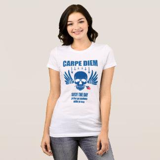 Camiseta Vintage azul Carpe retro Diem. Agarre el día