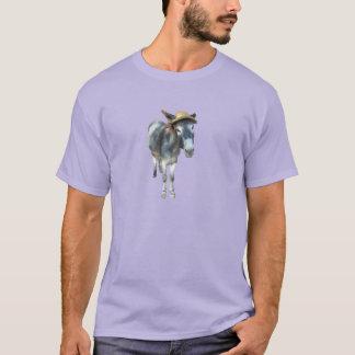 Camiseta Violeta el burro en gorra de paja con las flores