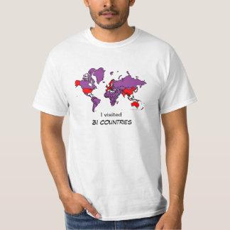 Camiseta visitada de los países