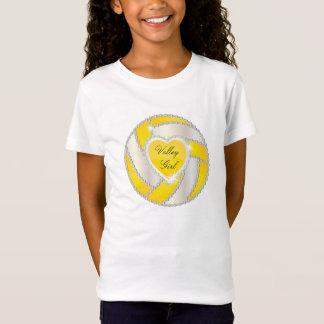 Camiseta Voleibol amarillo brillante del corazón elegante