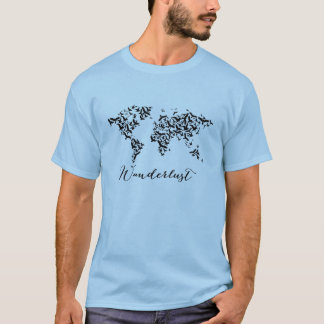 Camiseta Wanderlust, mapa del mundo con los pájaros de
