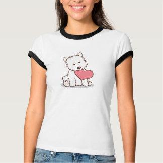 Camiseta Westie con forma del corazón