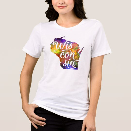 Camiseta Wisconsin US State in watercolor text cut out