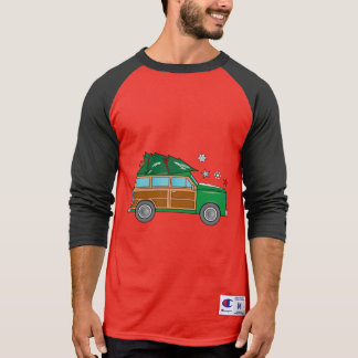 Camiseta Woodie con el árbol de navidad listo para ser
