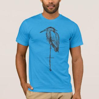Camisetas azules de la garza del vintage -