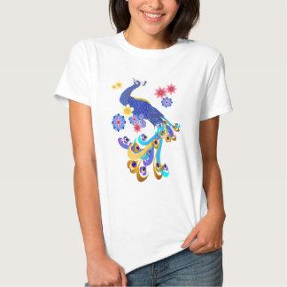 Camisetas de lujo del pavo real y de las flores