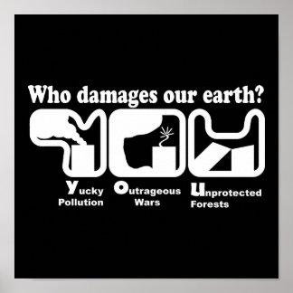 Camisetas del Día de la Tierra: ¿Quién daña nuestr Póster