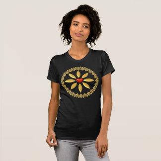 Camisetas diseñadas y adornar-Oro y corazón rojo