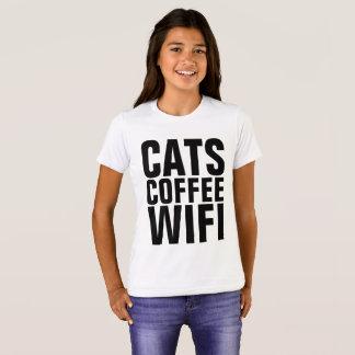 Camisetas divertidas del CAT para los niños, CAFÉ