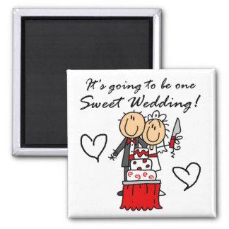 Camisetas dulces y regalos de un boda imanes para frigoríficos