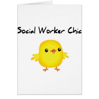 Camisetas elegante del asistente social lindo para tarjeta de felicitación