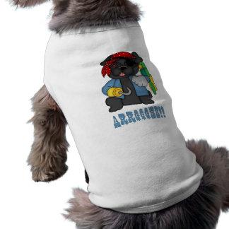 Camisetas negras adorables del traje del pirata de camisetas de perrito