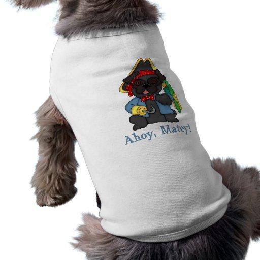 Camisetas negras adorables del traje del pirata de camisas de mascota