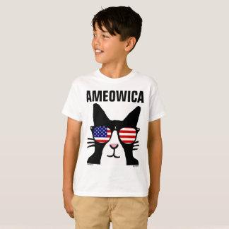 Camisetas patrióticas del gato de AMEOWICA, niños,
