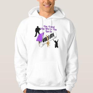 Camisetas púrpura del casquillo del graduado del