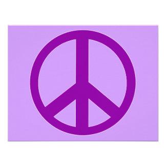 Camisetas púrpuras del signo de la paz sudaderas comunicado