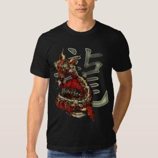 Camisetas rojas chinas de la oscuridad del dragón