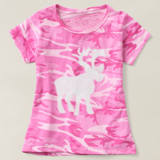 Camisetas rosadas de los alces del camuflaje