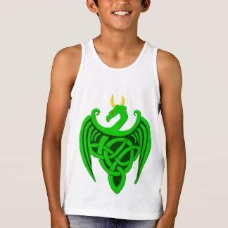 Camisetas sin mangas célticas verdes del niño del