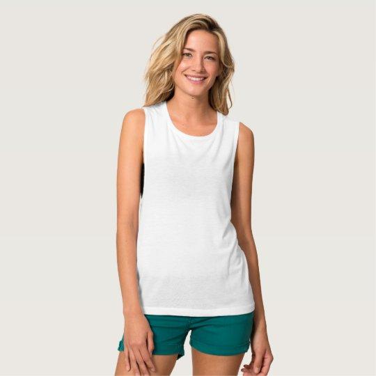 Camiseta de Bella+Canvas holgada de tirantes anchos para mujer, Blanco