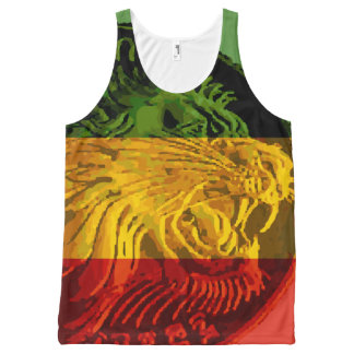 Camisetas sin mangas etíopes del león de Rasta Camiseta De Tirantes Con Estampado Integral