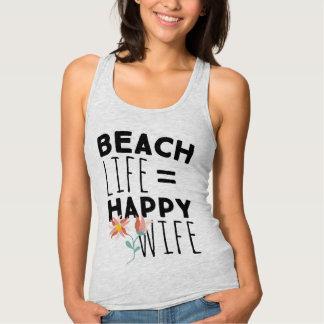 Camisetas sin mangas felices de la esposa de la