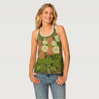 Camisetas sin mangas florales de la aguja de la
