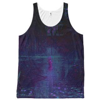 Camiseta De Tirantes Con Estampado Integral Camisetas sin mangas negras de la laguna