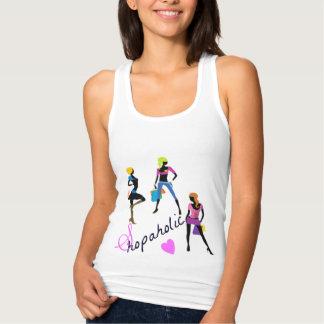 camisetas sin mangas shopaholic de los chicas
