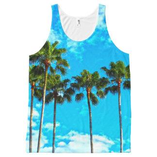 Camisetas sin mangas tropicales de la palmera de