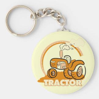 Camisetas y regalos anaranjados del tractor llavero redondo tipo chapa