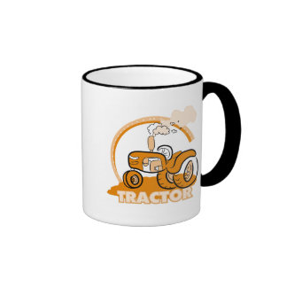 Camisetas y regalos anaranjados del tractor taza a dos colores