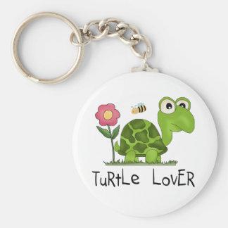 Camisetas y regalos del amante de la tortuga llavero redondo tipo chapa