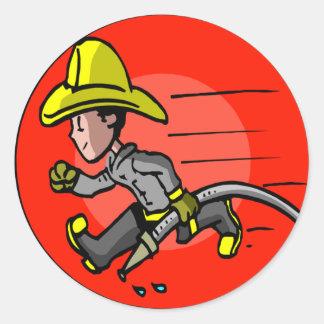 Camisetas y regalos del bombero de los niños pegatinas redondas