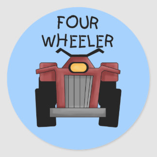 Camisetas y regalos del coche de cuatro ruedas pegatina redonda