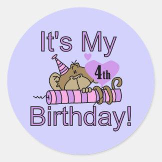 Camisetas y regalos del cumpleaños del mono del etiqueta redonda