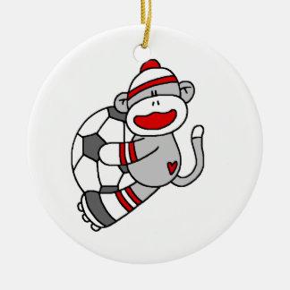 Camisetas y regalos del fútbol del mono del adorno navideño redondo de cerámica